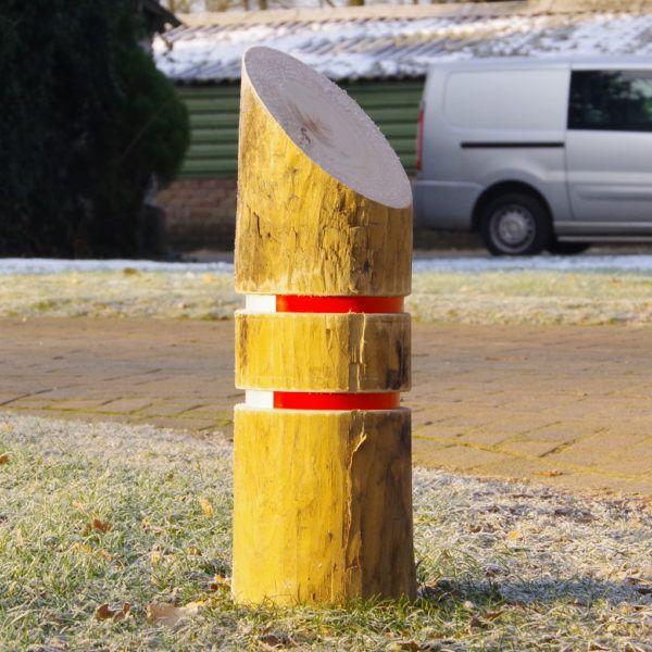anti parkeer paal met schuine bovenzijde